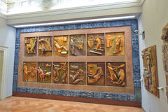 罗马,意大利- 6月01 :梵蒂冈博物馆在罗马, 2016年6月01日的意大利 免版税库存照片