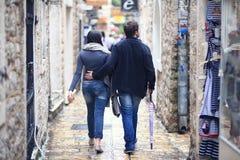 罗马,意大利- 6月14 :走在欧洲街道上的人们2014年6月14日的 库存图片