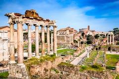 罗马,意大利-皇家论坛废墟  免版税库存图片