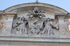 罗马, Acqua Paola喷泉`在Janiculum小山的Il Fontanone `胳膊细节罗马教皇的猫  免版税库存照片
