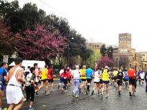 罗马, km 3月2014年,第11 Mararathon  免版税库存图片