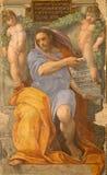 罗马-先知艾赛尔壁画在Basilica di Sant阿戈斯蒂诺(奥古斯汀)在Raffaello形式年之前1512 图库摄影