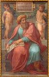罗马-先知Ezekiel壁画在Basilica di由彼得罗Gagliardi形式19的Sant阿戈斯蒂诺(奥古斯汀) 分 图库摄影