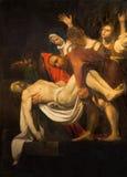 罗马-十字架的证言的拷贝由M的 科赫(1797)在教会圣玛丽亚里在Vallicella 原物Caravaggio 免版税库存照片