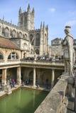 罗马浴和修道院历史的巴恩城市萨默塞特 免版税库存照片