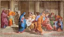 罗马-在寺庙壁画的介绍在Basilica di由彼得罗Gagliardi形式19的Sant阿戈斯蒂诺(奥古斯汀) 分 库存图片