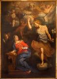 罗马-在教会基耶萨二由未知的艺术家的圣玛丽亚安农齐亚塔主要法坛的通告油漆17 分 免版税库存照片