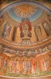 罗马-在英国国教的教堂基耶萨二圣保洛dentro le木拉主要近星点的马赛克  免版税库存照片