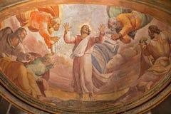 罗马-在登上塔博尔壁画的变貌在教会圣玛丽亚小山谷生命弗朗切斯科Salviati 免版税库存图片