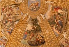 罗马-场面壁画从活的圣安德鲁教会Basilica di Sant安德里亚della的瓦尔传道者Domenichino 库存图片