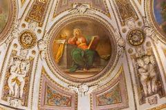 罗马-壁画和灰泥从st亚历山德拉凯瑟琳教堂近星点在Basilica di Sant阿戈斯蒂诺(奥古斯汀) 免版税库存图片