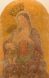 罗马-壁画玛丹娜del latte由Antoniazzo罗马的col小孩Jesu从13 分 在教会基耶萨二圣玛丽亚安农齐亚塔 免版税图库摄影