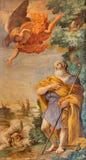 罗马-对牧羊人壁画的通告在教会圣玛丽亚小山谷生命克罗Grimaldi 免版税库存图片
