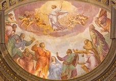 罗马-耶稣升天在教会圣玛丽亚小山谷生命的壁画从16的弗朗切斯科Salviati 分 免版税库存图片