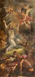 罗马-耶稣祷告在Gethsemane庭院里 在教会基耶萨二圣斯皮里托的壁画在未知的艺术家的Sassia 16 分 免版税库存图片