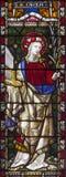 罗马-诸圣日`英国国教的教堂彩色玻璃的圣塞西莉亚由工作室克莱顿和霍尔19的 分 免版税库存图片