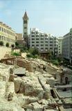 罗马浴,贝鲁特,黎巴嫩的废墟 库存照片
