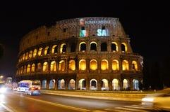 罗马colosseum的晚上 免版税库存图片