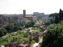 罗马Palatinum的全景和在所有Coloseum以后、废墟、古色古香的大厦和凯旋门 意大利 免版税库存照片
