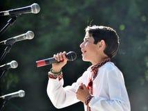 罗马Sasanchyn在城市天唱歌 免版税库存图片