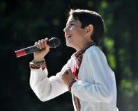 罗马Sasanchyn在城市Day_2唱歌 库存照片