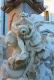 罗巴喷泉在一个夏日在卢布尔雅那,斯洛文尼亚 库存照片