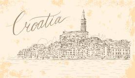 罗维尼在亚得里亚海的克罗地亚 传染媒介剪影 图库摄影