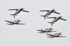 罗维尼,克罗地亚- 2014年4月13日在红色公牛的陈列飞机 库存照片