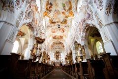 罗滕布,德国- 6月18 :罗滕布修道院教会(Kloster罗滕布)的内部 图库摄影