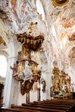 罗滕布,德国- 6月18 :罗滕布修道院教会(Kloster罗滕布)的内部 库存照片