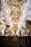 罗滕布,德国- 6月18 :罗滕布修道院教会(Kloster罗滕布)的内部 免版税库存照片