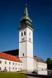 罗滕布,德国- 6月18 :罗滕布修道院教会(Kloster罗滕布)的塔 库存照片