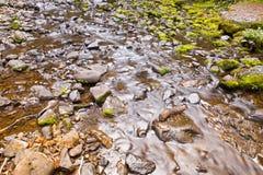 罗素落与用绿色青苔盖的石头的瀑布在Mo 免版税库存照片