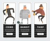 罪行、匪盗、窃贼、罪犯和证明有罪横幅动画片导航网站或流动app的元素 库存例证