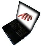 罪行互联网膝上型计算机个人计算机 库存图片