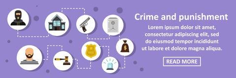 罪行和处罚横幅水平的概念 库存例证