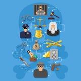 罪行和处罚Infographics 皇族释放例证