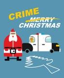 罪行圣诞节 手铐的圣诞老人 鹿在警察坐 免版税库存照片