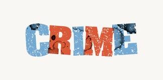 罪行概念被盖印的词艺术例证 库存图片