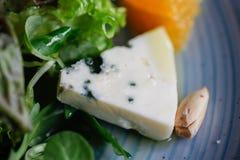 羊乳干酪乳酪删去用桔子和绿色 开胃菜,沙拉 健康的食物 Restaurand和自创食物 免版税库存照片