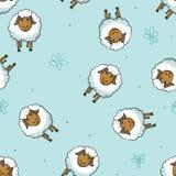 绵羊动画片无缝的样式 库存图片