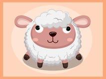 绵羊动画片 动物漫画人物滑稽的查出的对象向量 免版税库存照片