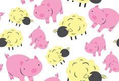 绵羊和猪无缝的样式 库存例证