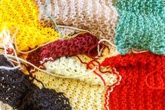 羊毛五颜六色的围巾作为背景 库存照片