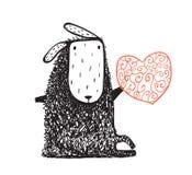 羊毛制绵羊开会和心脏 库存图片