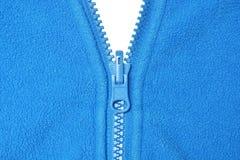 羊毛和蓝色拉链 库存照片