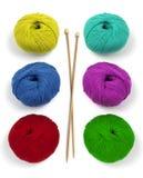 羊毛和针 免版税库存图片