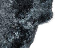 绵羊毛皮灰色羊皮地毯背景纹理 库存图片