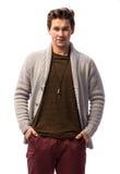 羊毛衫的微笑的英俊的人 库存照片
