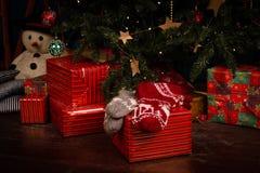 羊毛袜子,迷离在背景的圣诞树 库存照片